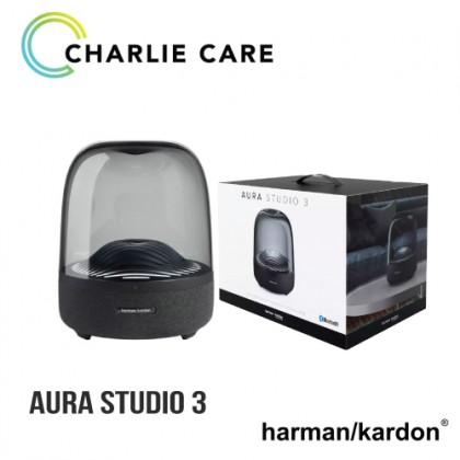 HARMAN KARDON AURA STUDIO 3 BLUETOOTH SPEAKER [Exceptional 360 Degree Audio  Ambient Light  Visually Stunning Sound  1 Year Official Warranty By Harman Kardon + Free Gift)